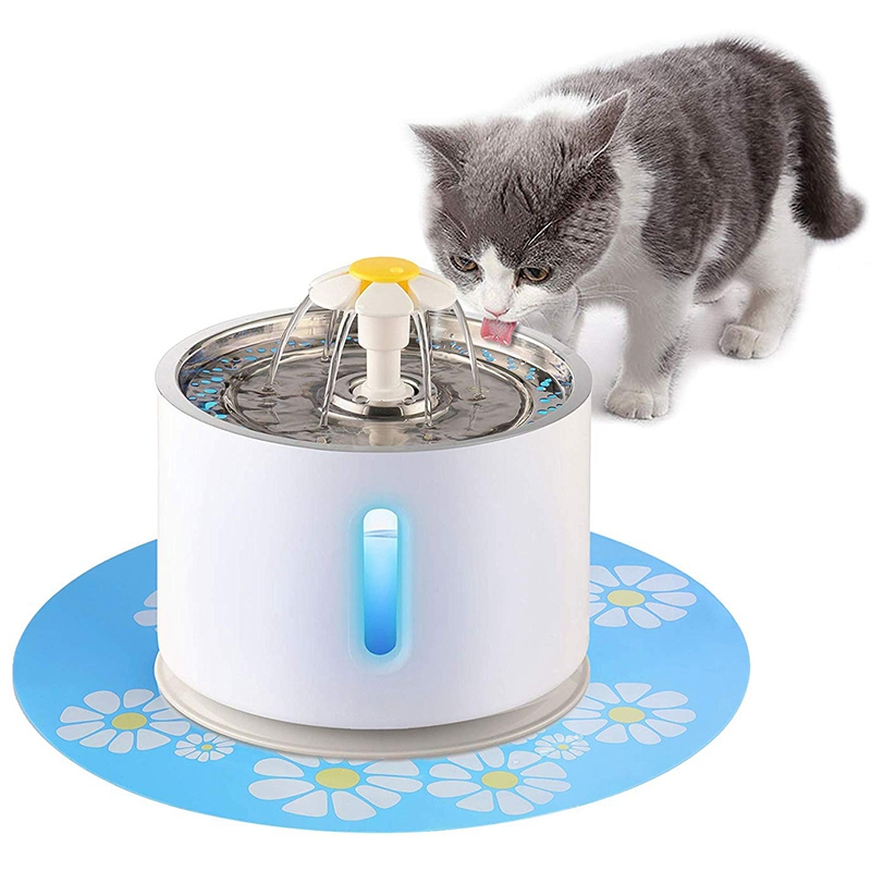 Cat Water Fountain Pet Fountain Stainless Steel Top Cat Water Dispenser and Cleaning Brushes 2.4L Ultra Quiet Water Level Window