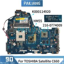 Mainboard For TOSHIBA Satellite C660 Laptop motherboard K000114920 LA-6847P HM55 216-0774009 DDR3 tested OK