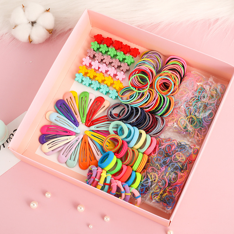2020 New Hair Accessories Set For Girls Elastic Hair Bands Hairpins  Rubber Band Ponytail Holder Flower Hair Claws Hair Clips