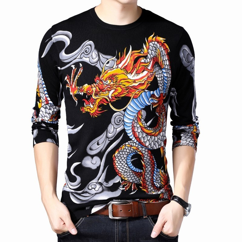 Printed Sweater Mens Fashion Pullover Slim Fit Pull Homme Mens  2019 Clothes M-3XL