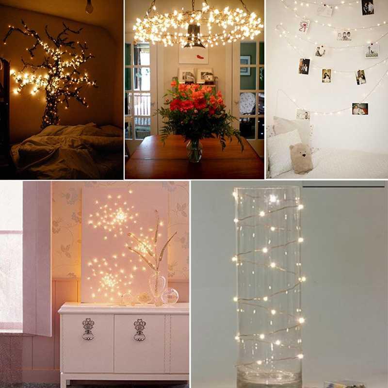 1/2/3/5m taśma led łańcuchy świetlne bateria wodoodporna ciepłe białe lampki led na drucie miedzianym na świąteczne dekoracje weselne