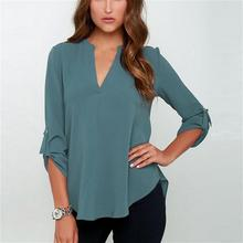 Women Solid Color Folded Sleeve Chiffon V-neck Blouse Pleated Long Sleeves Loose Chiffon Sh
