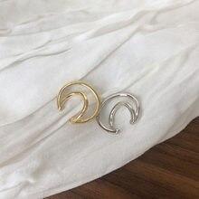 Moda ouro prata cor círculo orelha manguito falso piercing clip em brincos para as mulheres minimalista lua forma nenhum buraco earcuff jóias