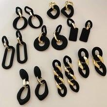 S925 agulha moda jóias brincos gota novo design resina chapeamento de ouro fosco preto brincos para senhora presentes festa
