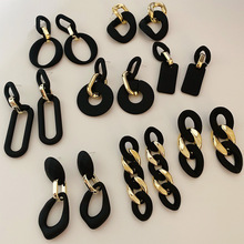 S925 needle Fashion Jewelry Drop Earrings New Design Resin Golden Plating Matte Black Earrings For Women Lady Party Gifts