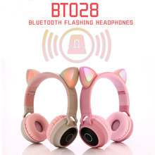 Cat Ear LED Headphones Noise Cancelling Bluetooth 5.0  Kids Girls and Boys Folding  Headset Support TF Card 3.5mm Plug With Mic