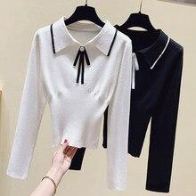 Ljsxls turn-down colarinho arco camisola feminina 2020 outono inverno moda topos nova manga longa tricô suéteres macio fino pulôver