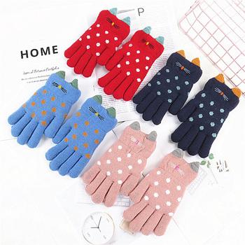 4-7 lat dzieci rękawiczki dziewczyna chłopiec zimowe ciepłe rękawiczki z dzianiny dla dzieci palce dziecko dziewczyna ciepłe aksamitne grube zimowe rękawiczki dla chłopca tanie i dobre opinie COTTON Akrylowe Unisex YE030 14*6CM Suit for 4-7 Years kids