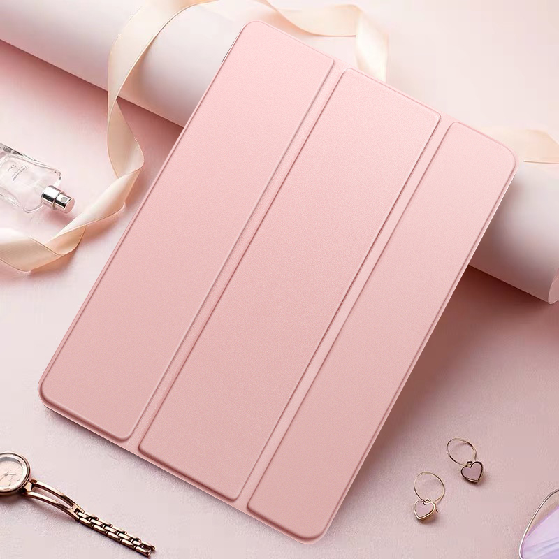 Rose Gold Yellow Tablet Case For Apple iPad 10 2 2020 8th generation Tri fold Flip PU Leather Cover