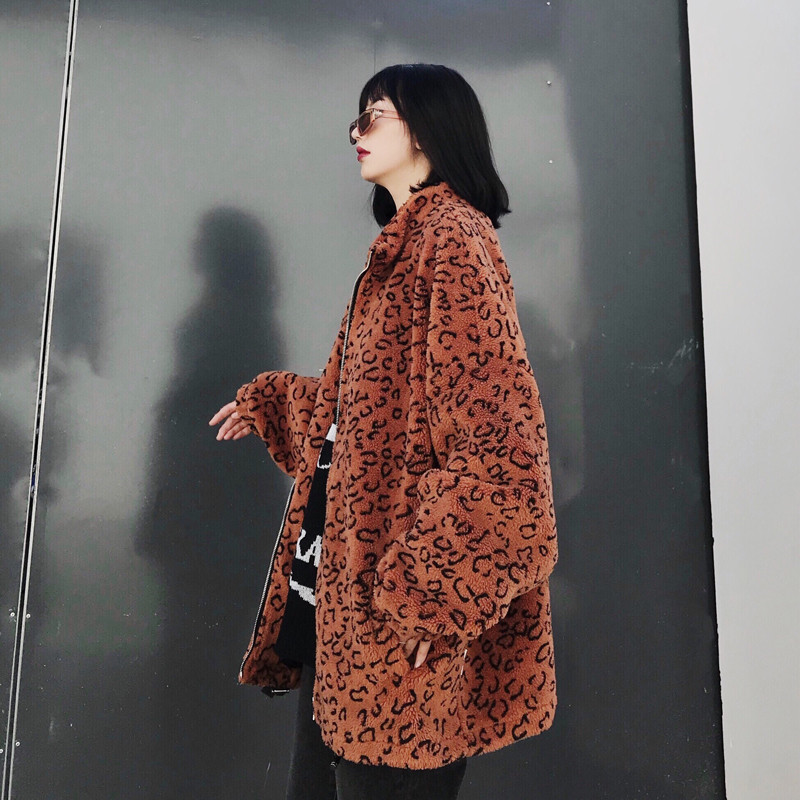 Focal20 Streetwear Leopard Japanese Letter Embroidery Women Coat Zipper Female Outerwear Casual Loose Warm Winter Lady Coats 2