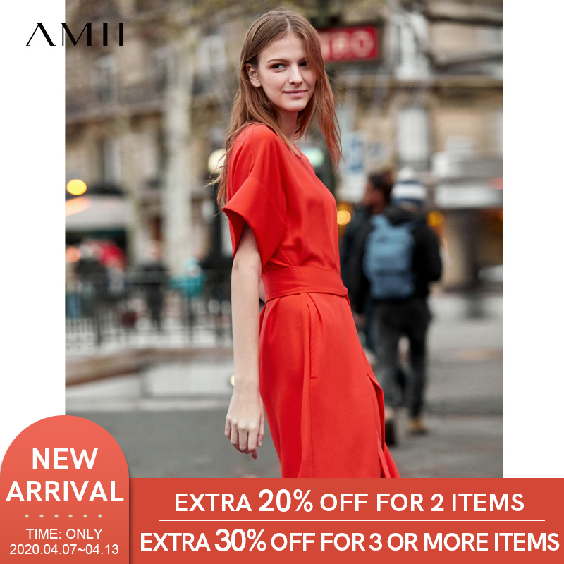 AMII 2020 Summer Chiffon Dresses Loose Women Short Sleeve Casual Straight Vintage A-Line Solid Lady Mini Dress 11940081