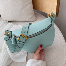 2020new women's bag PU leather solid color cross-body chest bag temperament style wild chain small waist bag ladies shoulder bag flower embroidery pu chain cross body bag