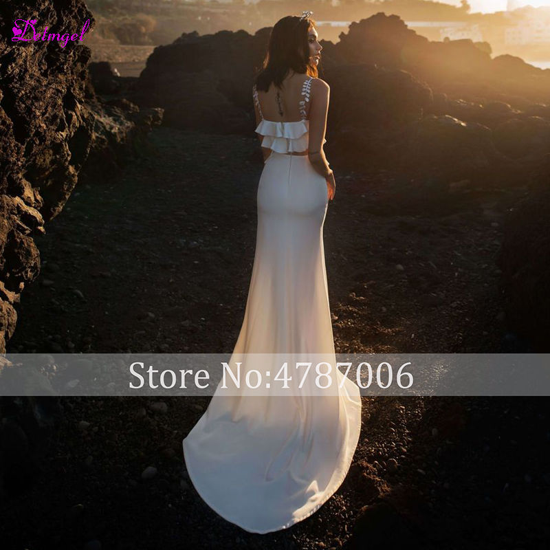 Detmgel Romantic Sweetheart Neck Pleated Mermaid Wedding Dress 2019 Graceful 2 Piece Front Splite Bohemian Bridal Gown Plus Size - 2