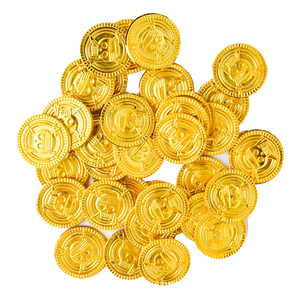 50pcs Skull Pirate Gold Coins Game Coin Prop Happy Halloween Event Party Decorations Favors Treasure Coins Fake Plastic(China)