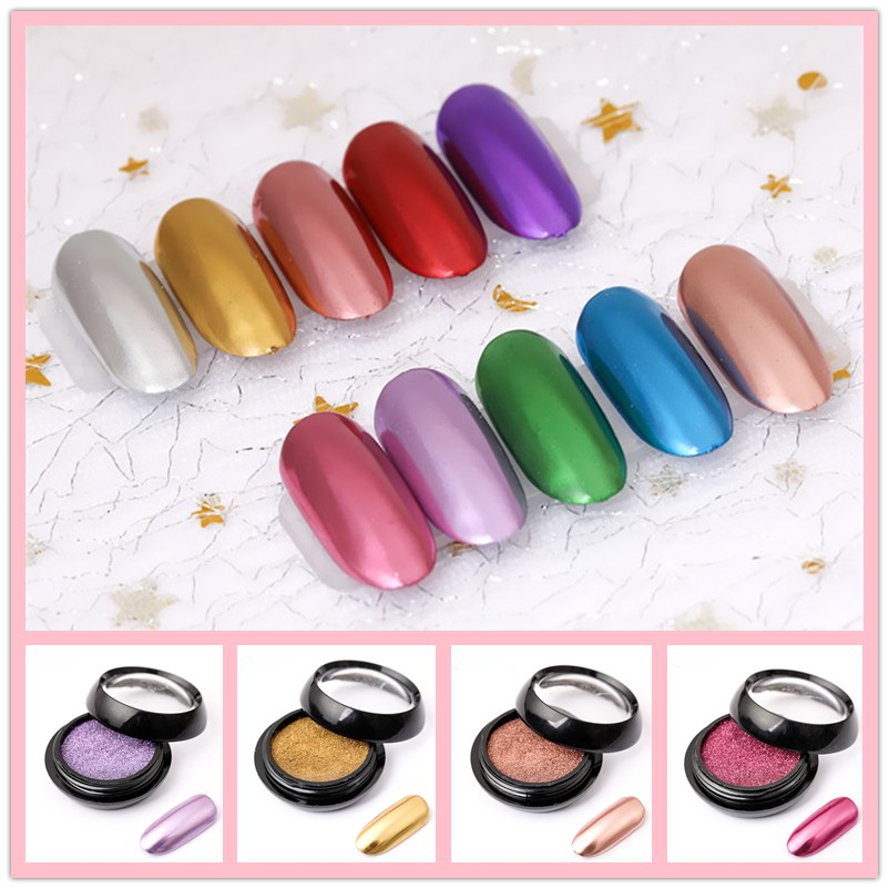 New 2ML Nail Mirror Glitter Powder Metallic Color Nail Art UV Gel Polishing Chrome Flakes Pigment Dust Decorations Manicure