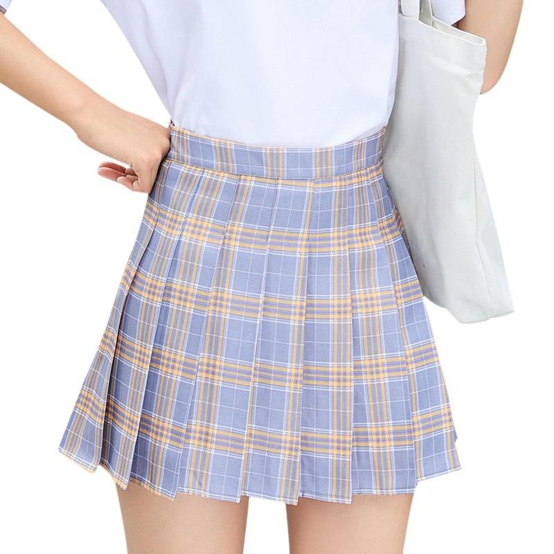 Women's Skirt Pure Lovely Skirt Korean Fashion High Waist Plaid Skirt Zipper Pleated A Line Skirt Light Gray Multiple Colour