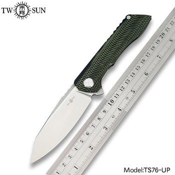 TWOSUN Knives D2 Blade Folding Pocket Knife Tactical Knife Survival Hunting Knives Camping Outdoor Tool Fast Open G10 EDC TS76 недорого