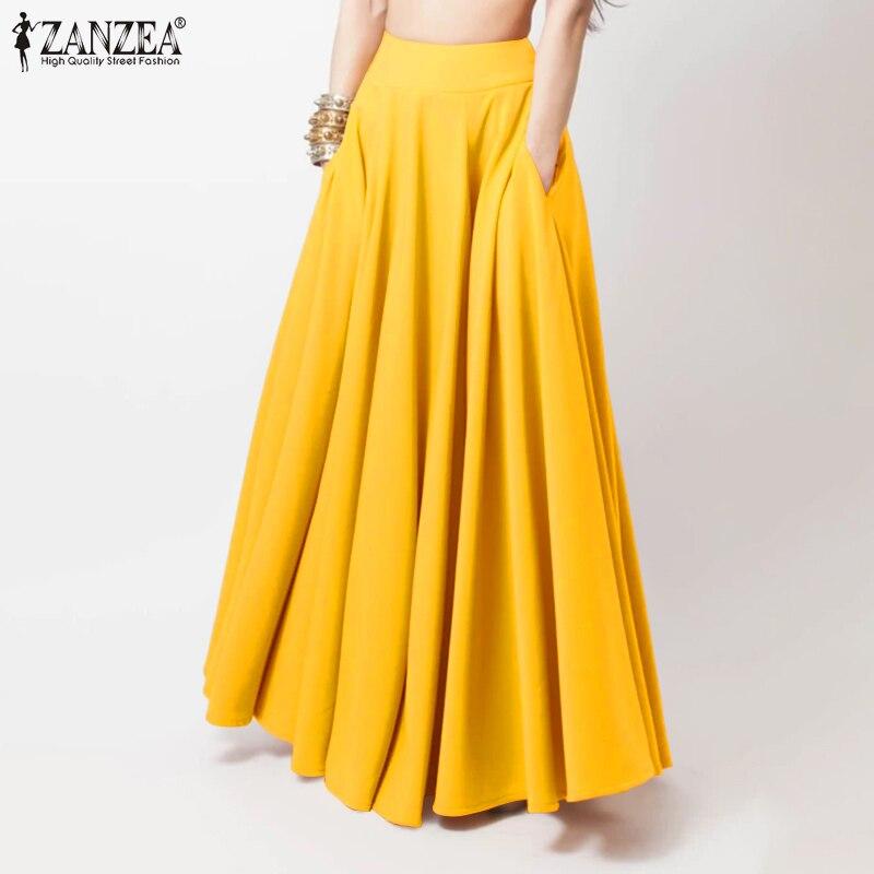 Fashion High Waist Maxi Skirts Women Spring Sundress ZANZEA 2021 Casual Elastic Waist Long Vestidos Female Solid Robe Plus Size