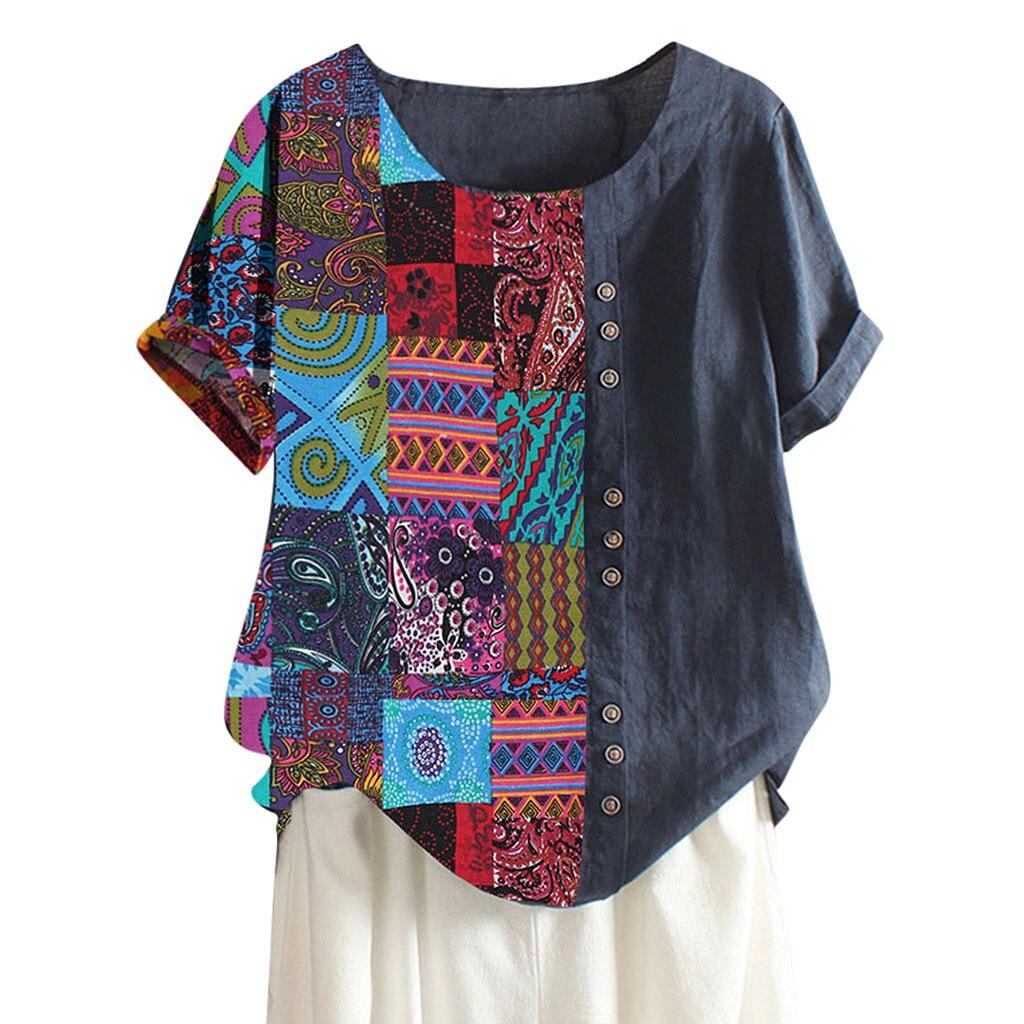 Frauen Sommer Kurzarm Floral Shirt Bluse Tops Lose T-Shirt Casual Tee S//M//L//XL
