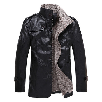 Men's Jacket Autumn Fashion Overcoat Stand Collar Slim Casual Style Leather Jacket Mens Faux Fur Coats Pu Leather Jackets hanqiu leather jacket men winter autumn pu faux leather solid jackets slim fit zipper pocket stand collar casual men jacket