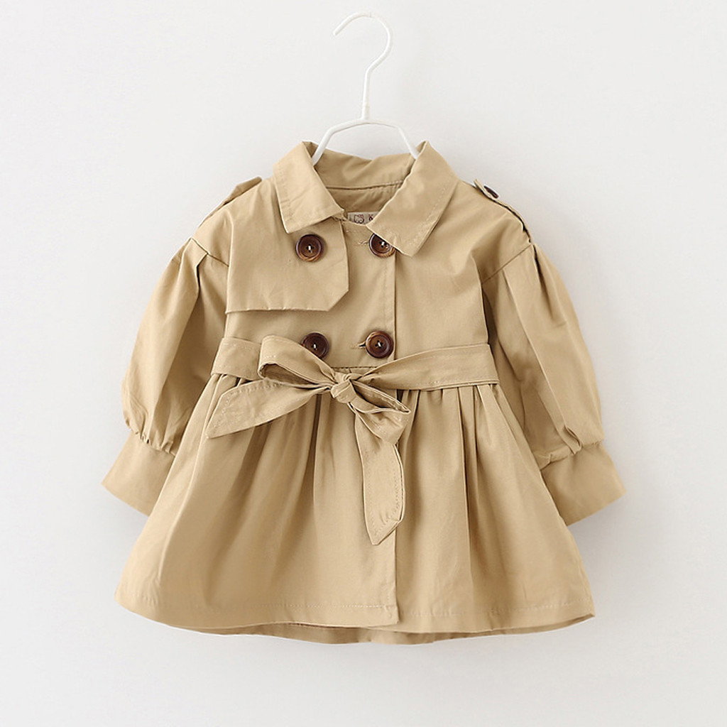 Coat Button-Button Windbreaker Winter Long-Sleeved And Autumn Solid Children's Wild Bow-Belt title=