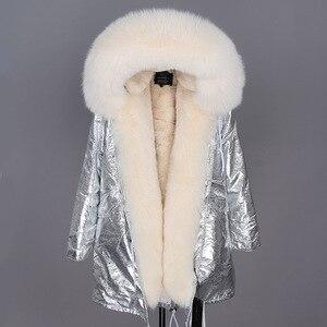 Image 5 - 2019 Donne Cappotto di pelliccia Reale di modo naturale reale della pelliccia di fox del collare allentato lungo parka grande collo di pelliccia della tuta sportiva Staccabile giacca invernale