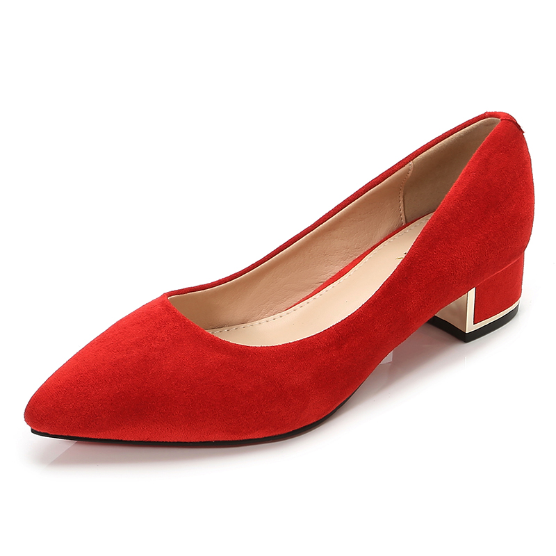 New Women Simple Girls Red Black Pumps Ladies Flock Pointed Toe Med Square High Heels Casual Work Office Female Shoes E0001
