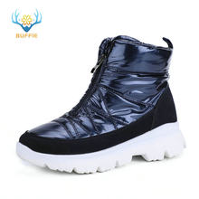 Winter Women boots navy snowboot short shoe warm 50% natural wool water-resistance upper non-slip zip quality product free ship(China)