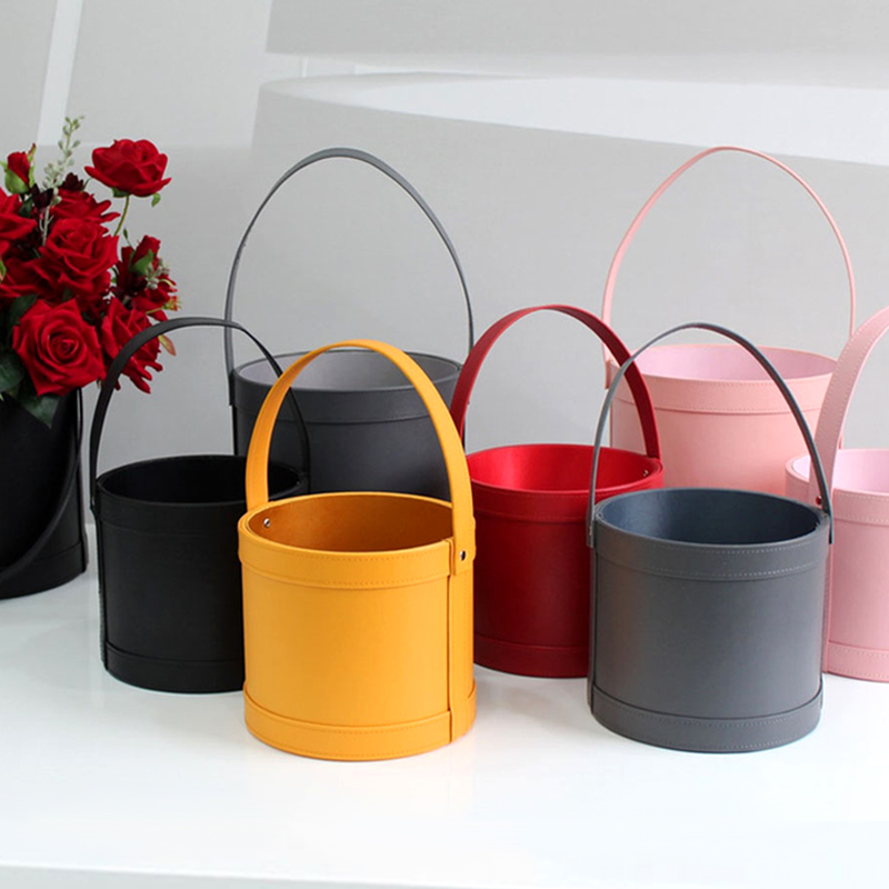 High Quality Flower Bucket Flower Gifts Box Portable Bouquet Flower Packaging Boxes Leather Large Round Floral Wrapping Supplies