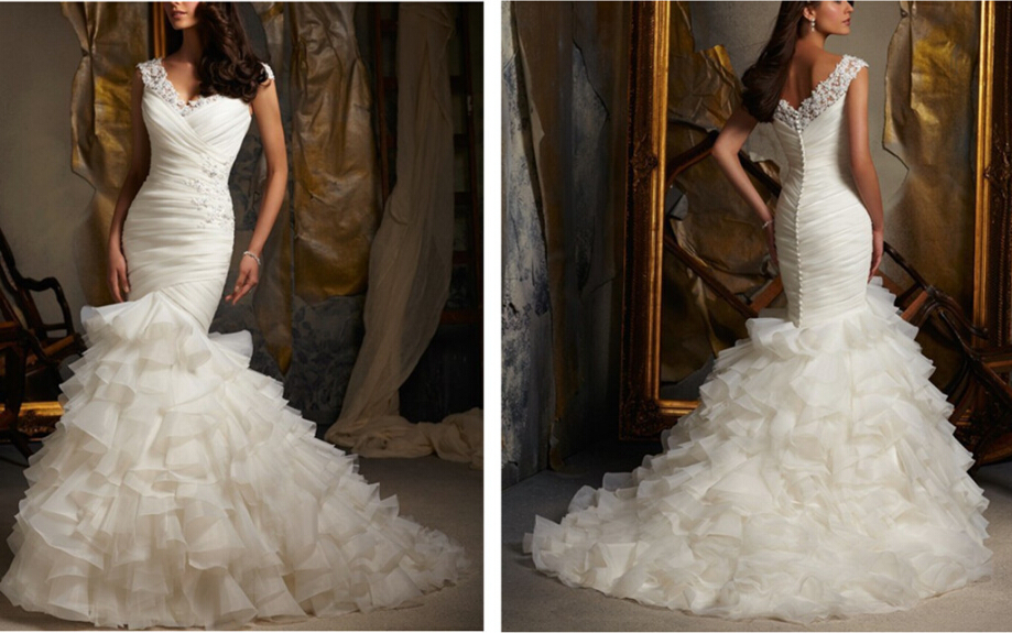 Vestidos Casamento Lace Sweetheart Neck Ruffles Mermaid 2018 Organza Bridal Gown Vestido De Noiva Mother Of The Bride Dresses