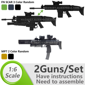 1:6 1/6 Scale 12 inch Action Figures Rifle FNSCAR Grenade Launcher Submachine Gun MP7 Model Gun Toy Seal ABS Ranger SAS Delta 1 6 4d germany mp7 submachine gun model diy assemble models for 12 inches action figures collections