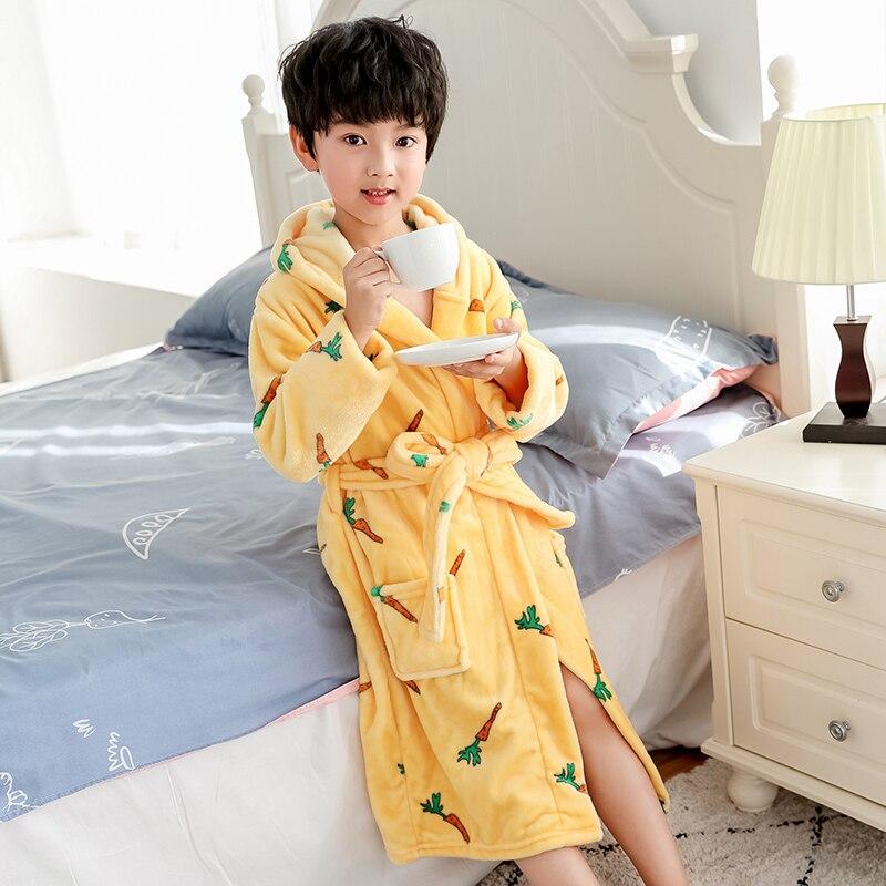 Kids Bathrobe for Boys Spring Winter Lively Animal Print Pajamas Warm Children Pyjama Teenager Boys Bath Robe Swimming Clothing 2