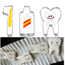 Cake-Mold Toothbrush Pastry Cookie-Cutter Fondant Stainless-Steel Brushing-Series 3pcs/Lot