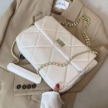 Lingge chain pu bolsa de couro macio 2020 novo outono e inverno quadrado designer feminino de um ombro high-end crossbody saco
