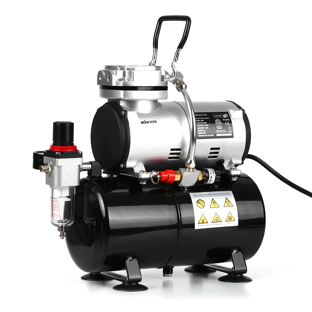 <font><b>KKmoon</b></font> Professional 1/6 HP Piston <font><b>Airbrush</b></font> Spray Gun 220-240V Tattoo Manicure Spraying Air <font><b>Compressor</b></font> with Tank image