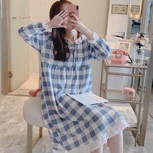 Image 2 - Женское клетчатое платье на шнуровке, винтажная Ночная рубашка большого размера с кружевом в стиле принцессы, осень 2019