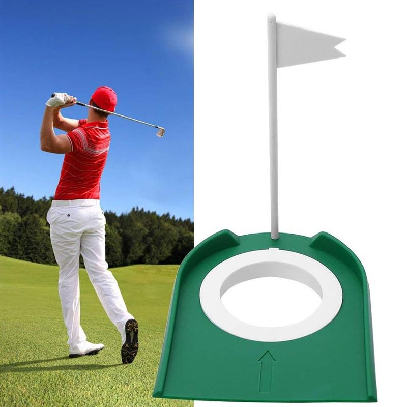 Plastic Golf Putting Hole Cup With Flag Portable Removable Golf Putting Training Cup Practice Aids Accessory For Indoor Outdoor
