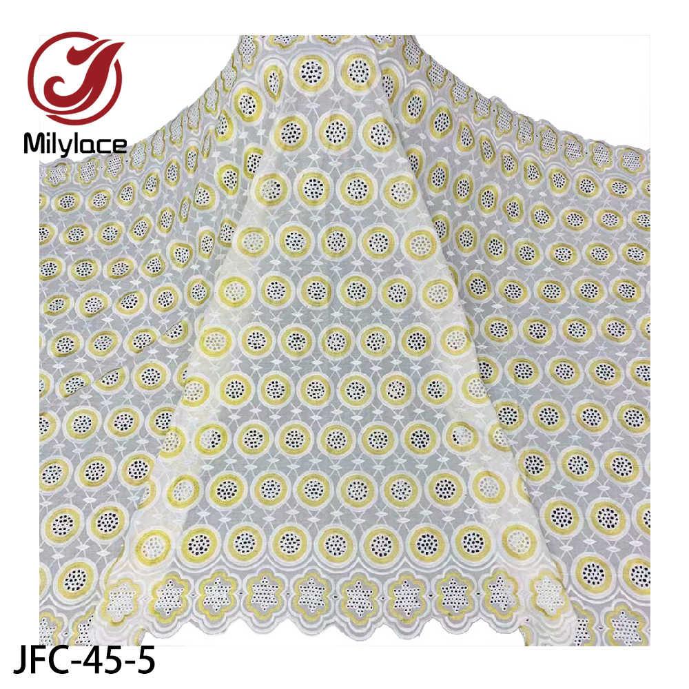 Milylace, африканская швейцарская кружевная ткань, высокое качество, вуаль, кружево в Швейцарии, нигерийское сухое хлопковое кружево, ткань для платья, JFC-45