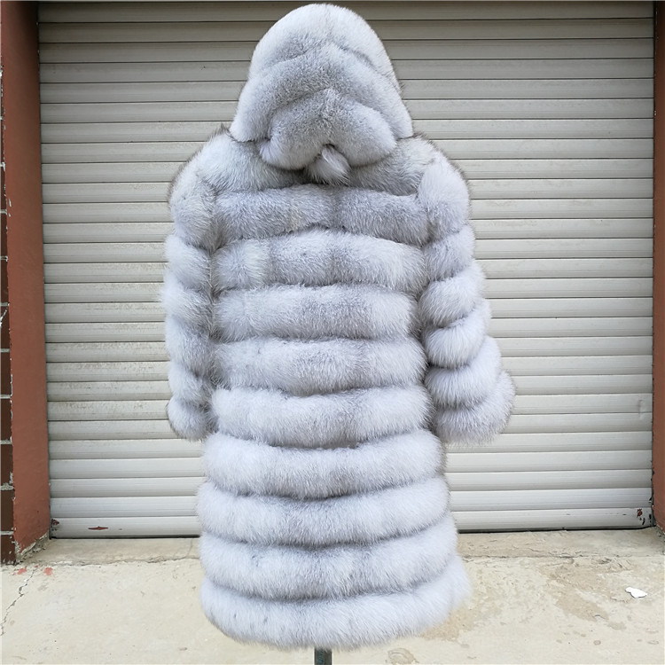 100% Natural Real Fox Fur Coat Women Winter Genuine Vest Waistcoat Thick Warm Long Jacket With Sleeve Outwear Overcoat plus size 117
