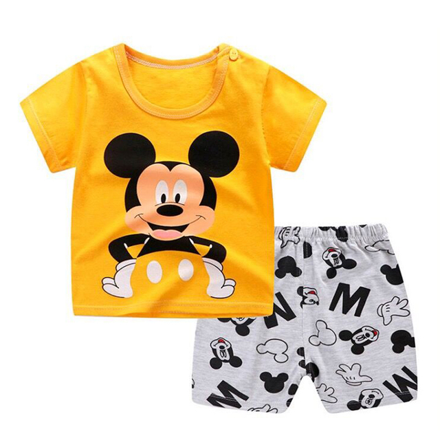 Brand Designer Cartoon Clothing Mickey Mouse Baby Boy Summer Clothes T-shirt+shorts Baby Girl Casual Clothing Sets 1