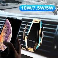 10W Qi Wireless Charger Infrared Sensor Automatic Clamping Portable Fast Charging Phone Holder Mount Car Charger For Smartphone