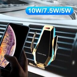 10W bezprzewodowa ładowarka Qi czujnik na podczerwień automatyczne mocowanie przenośne szybkie ładowanie uchwyt do telefonu uchwyt samochodowy ładowarka do smartfona
