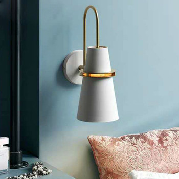 Nordic Creative macaron Wall Lamp Modern living room Walkway Staircase Bedroom Bedside light Simple iron LED lights YHJ010808