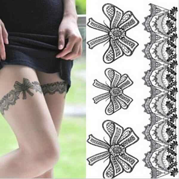 AACAR 1 juego/lote tatuaje temporal tatuaje falso pierna parte Sexy medias pegatinas de encaje tatuaje pegatina para arte corporal