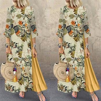 Womens Maxi Beach Dress 2019 Summer Half Sleeve Casual Boho Kaftan Tunic Gypsy Ethnic Style Floral Print Plus Size Dresses S-5XL 2