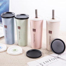 1PC Simple Wheat Straw Cup With Lid Cup Student Portable Tote Travel Cup Plastic Drinking W