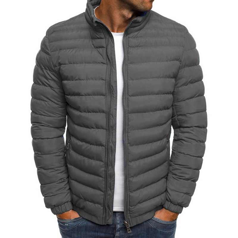 Sfit 男性スタンド襟パーカージャケット固体厚手のジャケットとコート冬パーカー軽量防風暖かい Packable ダウンジャケット