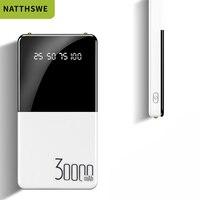 Bateria externa portátil do banco de potência móvel da grande capacidade 30000 mah com a indicação digital dupla dos portos de usb
