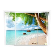 Beautiful Sea View Wall Hanging Tapestry Home Decor Beach Blanket 13 1.5*1.3m Wall Art Decoration colorful large hanging funny text party decoration tapestry wall hanging blanket yoga beach mat home decor house decoration