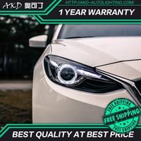 AKD tuning car Headlight For Mazda 3 mazda3 Axela 2014 2016 Headlights LED DRL Running lights Bi Xenon Beam lights angel eyes